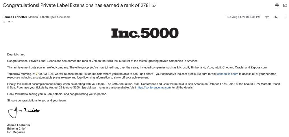 Congrats Email from INC