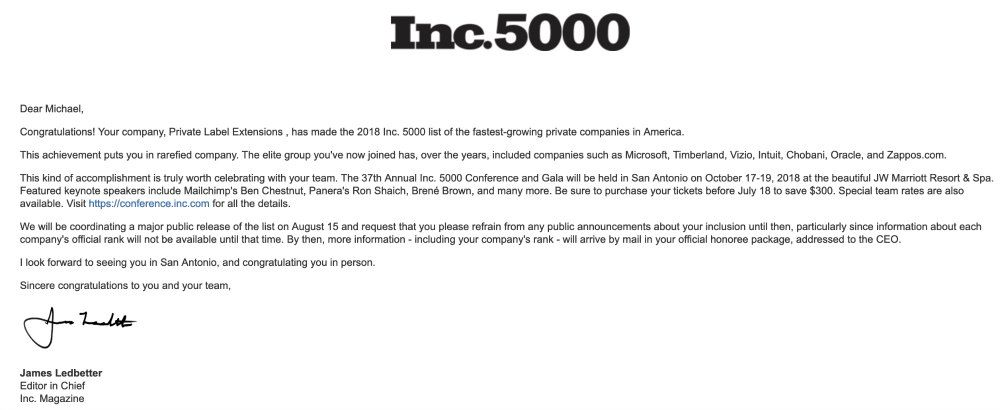INC 5000 Email